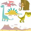 Set of cartoon dinosaurs - Stock Vector