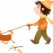 A girl walking with her dog — Stock Vector