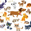 Stock Vector: Collection of cats and dogs