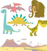 Set of cartoon dinosaurs — Stock Vector