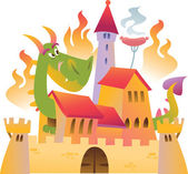 Cartoon dragon is siting in the castle in fire — Stock Vector