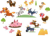 Vector set of cartoon farm animals — Stock Vector