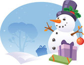 Snowman with gifts — Vecteur