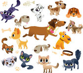 Collection of cats and dogs — Stock Vector