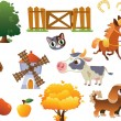 Collection of vector farm animals — Stock Vector
