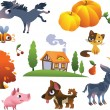Collection of vector farm animals — Stock Vector #16216459