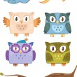 Vector owls family — Stock Vector #16216463