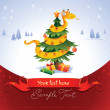 Happy snake on the christmas tree — Stock Vector