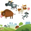 Stock Vector: Collection of cow family