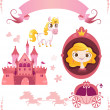 Set of pink princess tale - 图库矢量图片