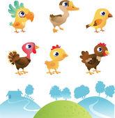 Zbiór różnych ptaków — Wektor stockowy