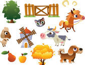 Collection of vector farm animals — Stock Vector