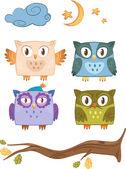 Vector owls family — Stock Vector