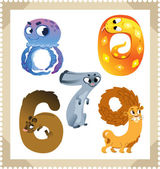 Cartoon animals numbers set with white bacground. Vector. — Stock Vector