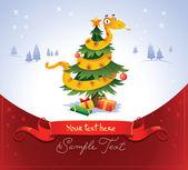 Happy snake on the christmas tree — Stock Vector