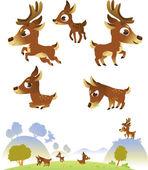 Beyaz arka plan üzerinde izole geyik aile — Stok Vektör