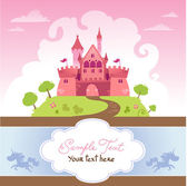 Card With Cartoon Castle — Stock Vector