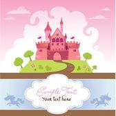 Card With Cartoon Castle — Stock Vector