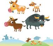 Collectie van koe familie — Stockvector