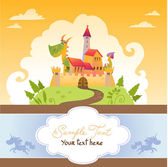 Card With Cartoon Dragon in Castle — Stock Vector