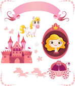 Set of pink princess tale — Stock Vector