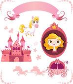 Set of pink princess tale — Stock Vector