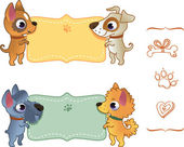 Set of summer banners with dog. — Stock Vector