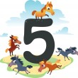 Collection number for kids: farm animals - number 5, horses - Image vectorielle