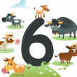 Collection number for kids: farm animals - number 6, cows — Stock Vector