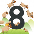 Collection number for kids: farm animals - number 8, sheeps — Stock Vector #18550419