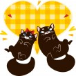 Valentines Day Card with black cats — Stock Vector #18550435