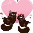Valentines Day Card with black cats — Stock Vector #18550441