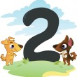 Collection number for kids: farm animals - number 2, dogs - Image vectorielle