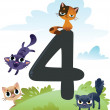 Collection number for kids: farm animals - number 4, cats — Stock Vector