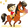 Stock Vector: Child Riding Small Horse: image isolated on white background