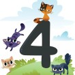 Stock Vector: Collection number for kids: farm animals - number 4, cats