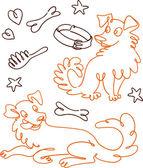 有趣涂鸦狗一套 — 图库矢量图片