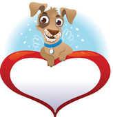 Greeting cards with heart and dog — Stock Vector