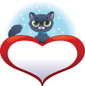 Greeting cards with heart and cat — Stockvektor