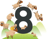 Collection number for kids: farm animals - number 8, sheeps — Stock Vector