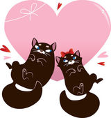 Valentines Day Card with black cats — Stock Vector