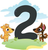 Collection number for kids: farm animals - number 2, dogs — Stock Vector