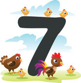 Collection number for kids: farm animals - number 7, chicken — Stock Vector