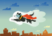 Flying super hero dog in the fly — Stock Vector