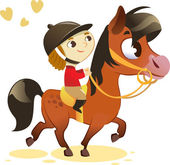 Child Riding Small Horse: image isolated on white background — Stock Vector