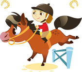 Child with Small Horse, jumping a Hurdle — Stock Vector