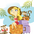 Tropical illustration: girl sitting on a suitcase — Stock Vector #20137123