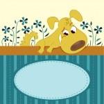 Мультфильм животных карты с смешная собака — Cтоковый вектор #20137623