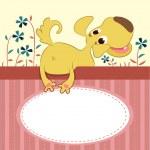 Мультфильм животных карты с смешная собака — Cтоковый вектор #20137683