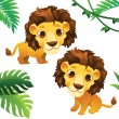 Animals Collections: Lions with Tropical Frame — Stock Vector